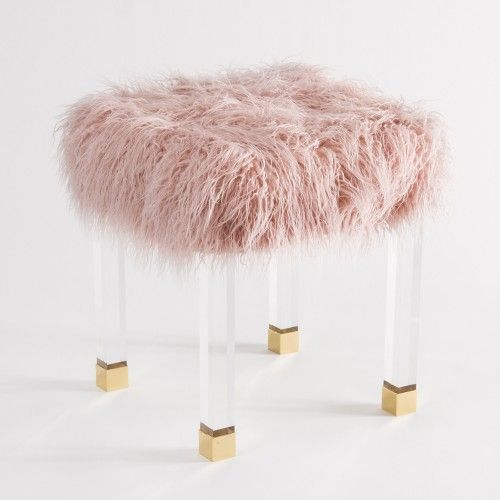 Fluffy Pink Faux Fur Footstool Bench Acrylic Legs Gold Tips
