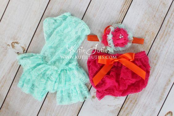 Kutie Tuties - Aqua, Fuchsia, and Orange, Headband, Bloomer, and Leggings- Flowers, newborn, baby girl, toddler, birthday, cake smash