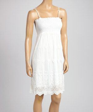 Another great find on #zulily! White Lace Accent Smocked Sleeveless Dress by Dolce Bianca #zulilyfinds