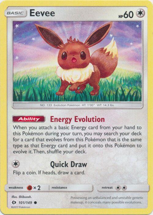 101//149 4x Eevee Sun /& Moon Base Set Common NM-Mint Pokemon SM01