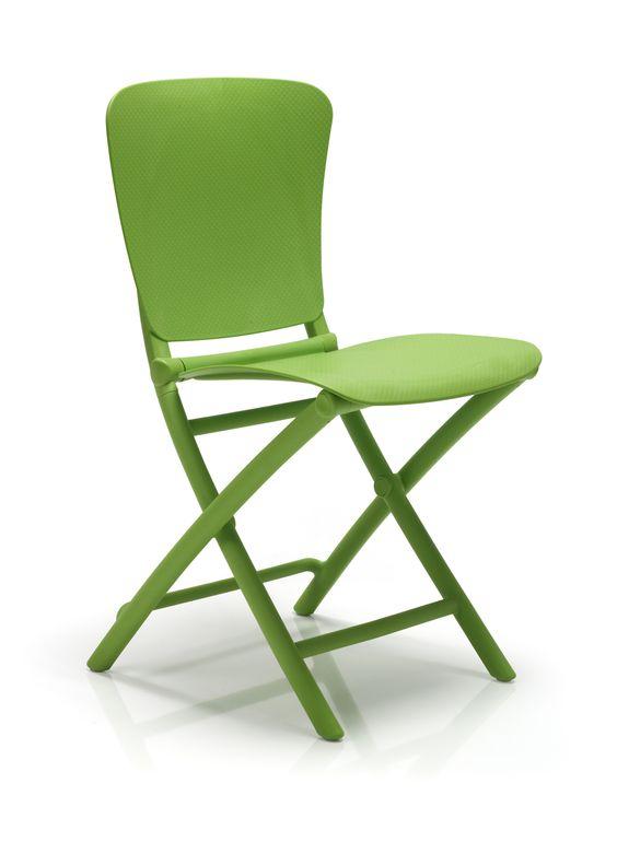 Chaise de jardin Nardi Zac, en coloris Vert : mettez de la couleur dans vos petits espaces - balcon, cuisine, terrasse.