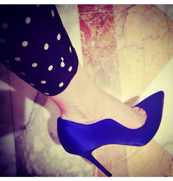 Brian Atwood blue satin heels. Love at first strut