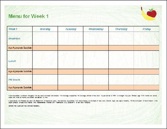 Child Care Blank Menu Template Daycare Menu Printable Menu Template Menu Template