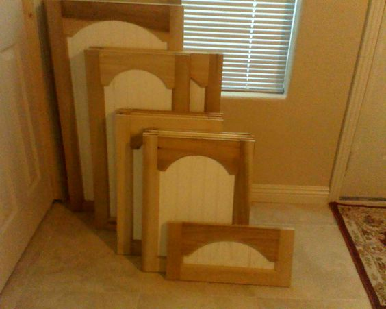 Cathedral arch bead board panel cabinet doors diy for Cathedral arch kitchen cabinets