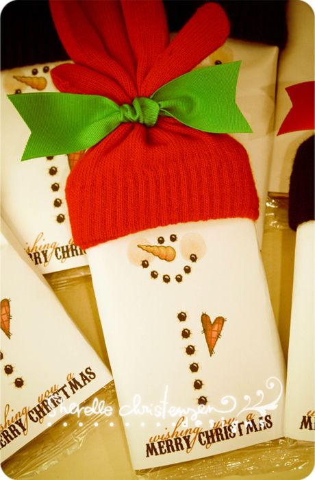 microwave popcorn wrapped in paper, a stretch glove for the hat...what a cute teacher gift!