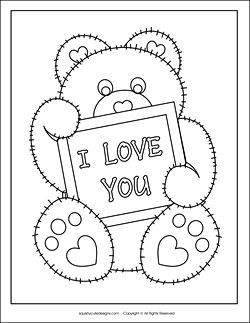 Valentine's day card for your child to color - free printable teddy bear