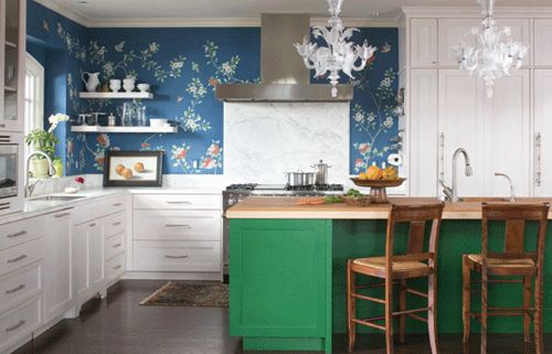 Love this kitchen! The link is to an article about putting different room decor styles together.