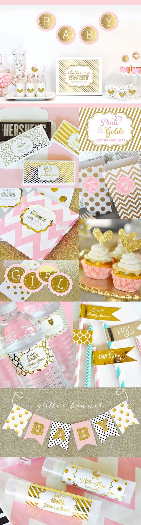 Pink and Gold Baby Shower Decor Unique Baby Shower by ModParty: