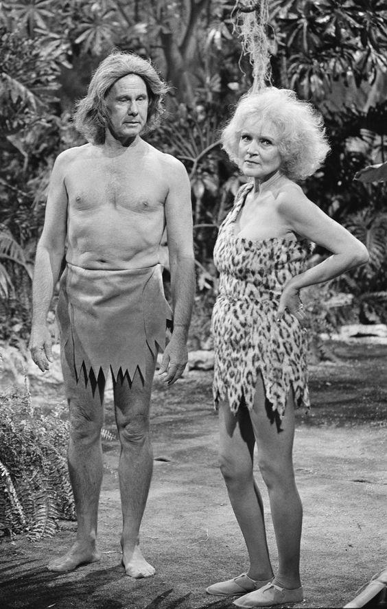 Johnny Carson & Betty White as Tarzan & Jane.: