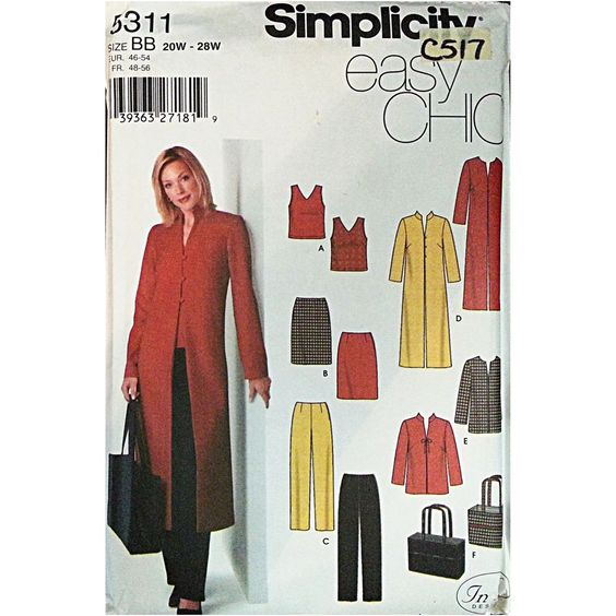 Misses' Women's Top Skirt Pants Coat Bag Pattern BB 20W-28W Simplicity Chic c517 #Simplicity #EasyChic