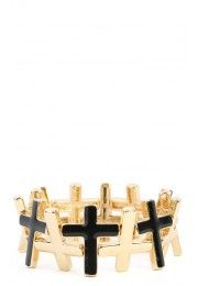 Cross Stretch Bracelet BLACK GOLD