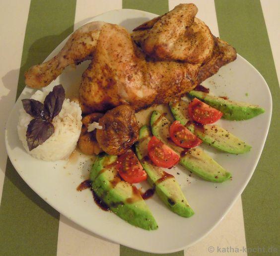 Orientalisches Brathähnchen mit geschmorten Feigen, Reis und Avocado - Katha-kocht!