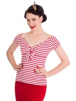 Hell Bunny White & Red Stripe Dolly 950's Vintage Top