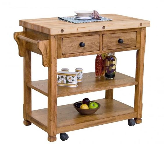 Sedona Rustic Oak Kitchen Island Available At