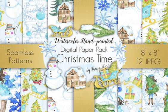 Christmas Time Digital Paper Pack by Tanya Kart on @creativemarket