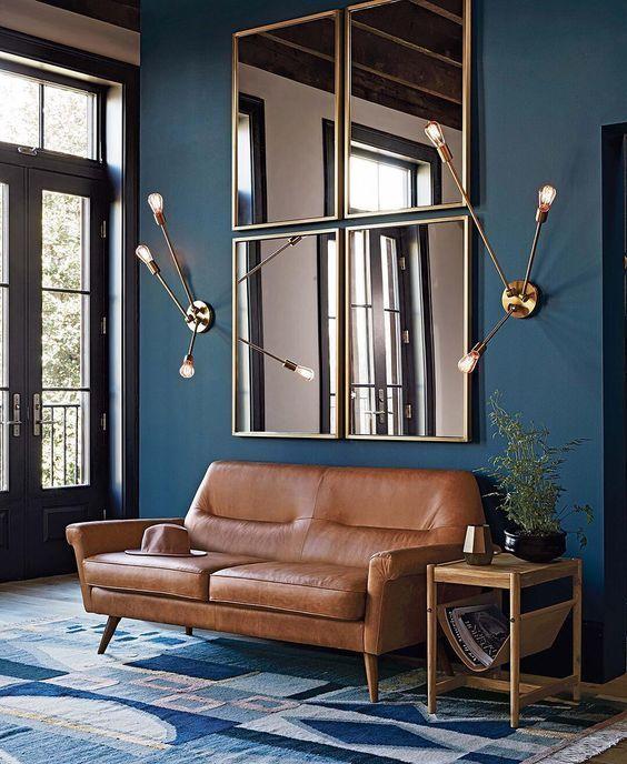 Trend Petrol Blue Huis Interieur Interieur Woonkamer Donkerblauwe Woonkamer