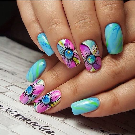 Beautiful nail colors, Blue nail art, Bright water nails, Exquisite nails, flower nail art, Marble nails, Original nails, Pastel nails
