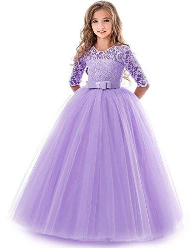 UK Girls Bridesmaid Dress Kid Lace Flower Party Princess Wedding Pageant Dresses