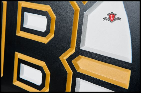 Bruins Logo made on CNC router close up view.