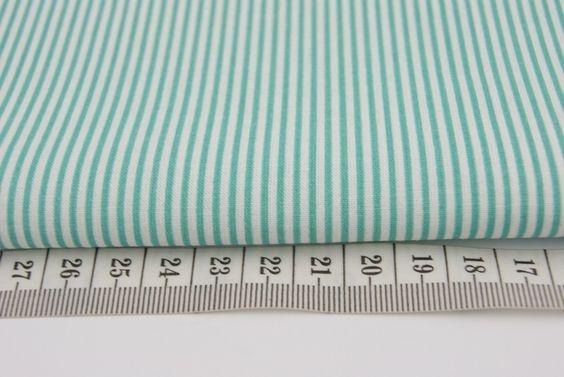 Baumwollstoff+Mint,+gestreift,+mit+Streifen+von+bunterstoff+auf+DaWanda.com