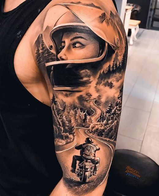 Motorcycle Tattoo Design Ideas 0 In 2020 Biker Tattoos Adventure Tattoo Harley Tattoos