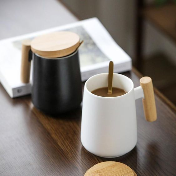 Nordic New Design Simple White Black Ceramic Coffee Mug With Wooden Handle 480ml Water Cup For Business Gift Modern Style Mugs In 2020 Simple Designs Wooden Handles Ceramics