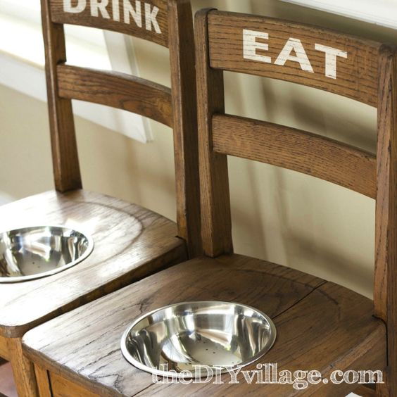 "Turn a chair into a cute Dog Bowl - brilliant!  Love the ""eat"" ""drink"" too!"