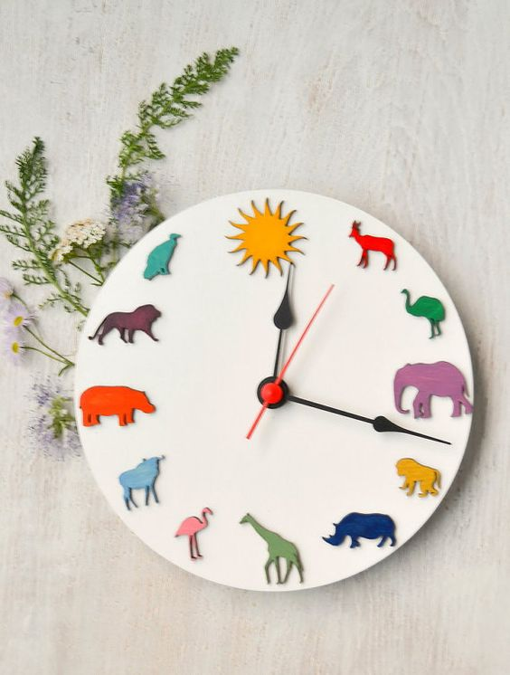 Safari african animals colored wood clock eco friendly home kids room decor, funny clock for children, Christmas gift