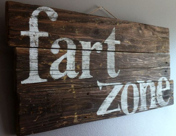 """Funny, humorous quote """"fart zone"""" reclaimed wood rustic wall art sign, for man cave, bathroom or boys room"""