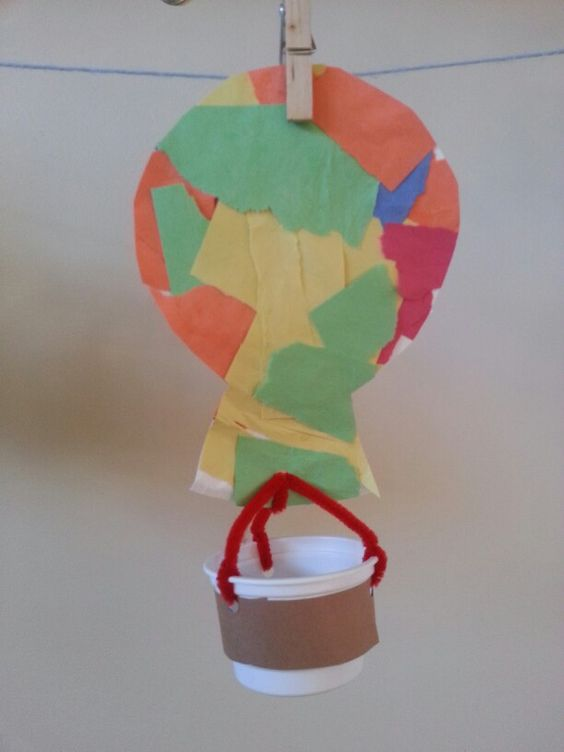 Paper plate hot air balloon with recycled yogurt cup for Transportation crafts for preschoolers