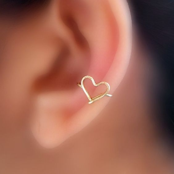 Heart Ear Cuff from Etsy! $8: Heart Cuff, Junk Ear, Tattoos Piercings, Ear Cuffs, Heart Ear