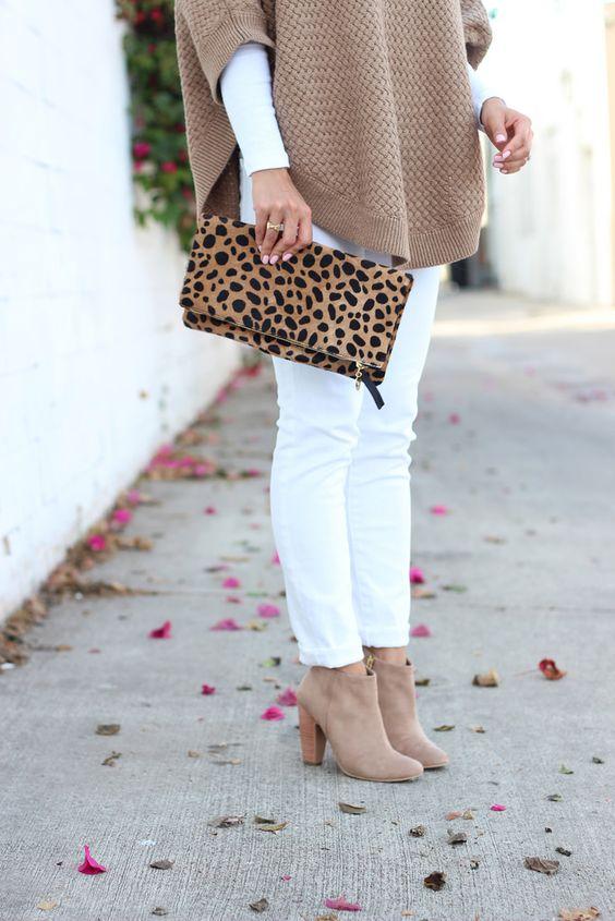 Petite Camel Cape, white AG stilt cigarette roll up jeans, suede booties, leopard foldover clutch // Details here: http://www.stylishpetite.com/2014/10/camel-cape.html: