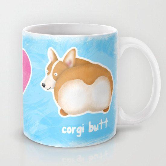 Pembroke Welsh Corgi Coffee Mug - Pet Lover Gift - Fluffy Butt - Corgi Butt Mug - Peace, Love, Corgi Butt