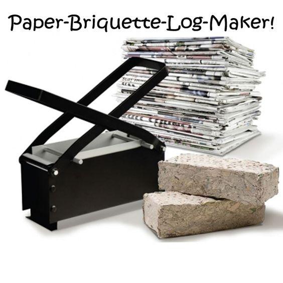 Paper briquette-log maker - such a good idea