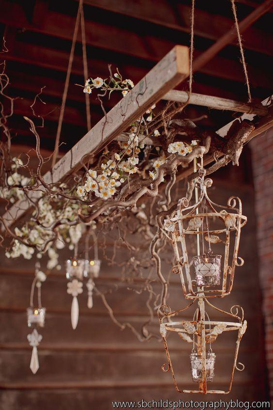 Vintage ladder hanging wedding pinterest ladder for Decor hanging from ceiling