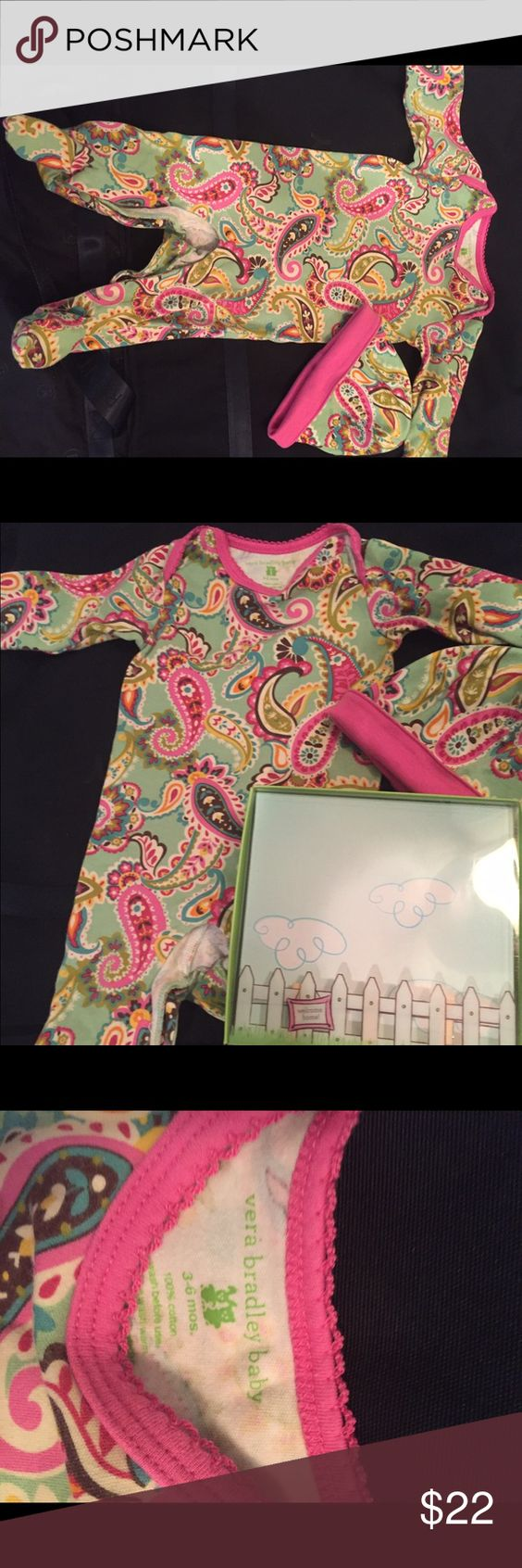 Vera Bradley layette Vera Bradley infant layette in Tutti Frutti, 3-6 months with matching cap. Worn and washed only once. Excellent condition! Vera Bradley One Pieces Footies