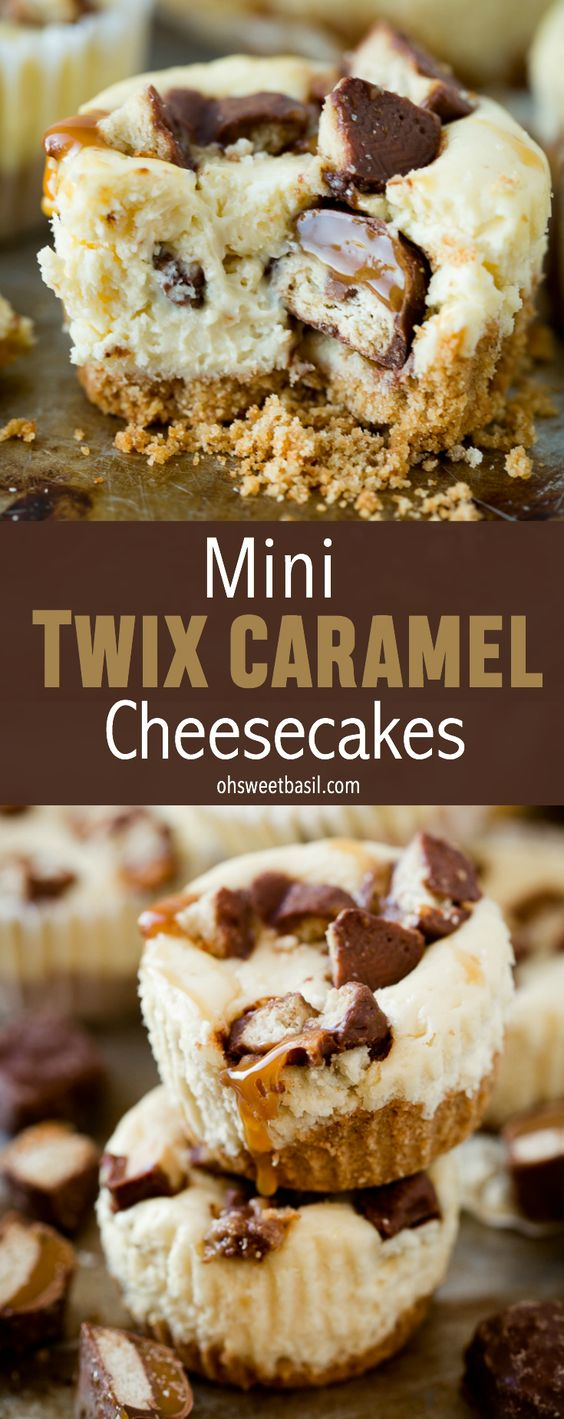 Creamy cheesecakes swirled with caramel and bite size Twix Bars. These Mini Twix Caramel Cheesecakes are easy and can be ready for a party in just 15 minutes!