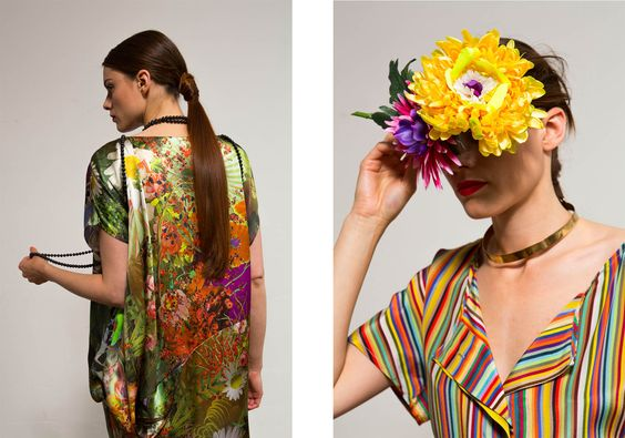 links: Amazonkleid I Seidensatin rechts: Markise Bluse I Seide gestreift