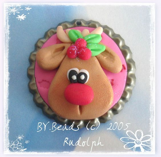 *POLYMER CLAY ~ Rudolph Polymer Clay Bottle Cap Bead, Scrapbooking, Bow Center, Pendant, Cupcake topper, Magnet