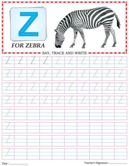 Capital letter writing practice worksheet alphabet Z | Download ...