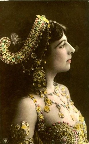 Mata Hari in costume designed by Erte, who also designed for Ballet Russe