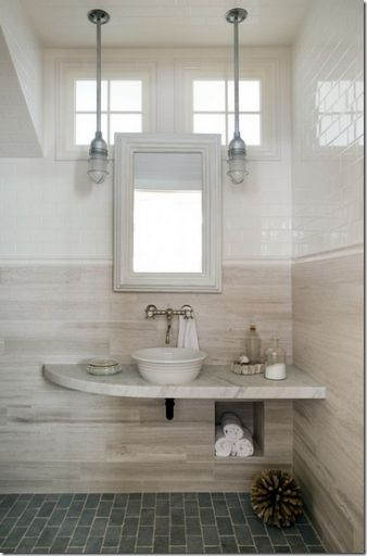 Eco friendly design bathroom with pendant lighting and - Eco friendly bathroom sinks ...