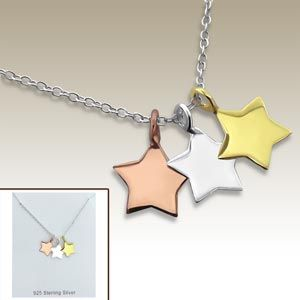 Silver necklace with star pendants incl. display card - 17041