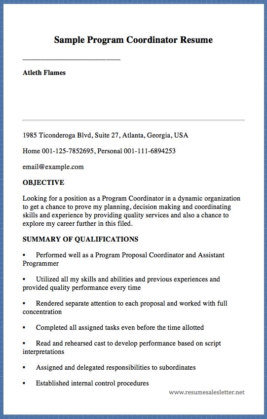 Sample Program Coordinator Resume Atleth Flames 1985 Ticonderoga - program proposal