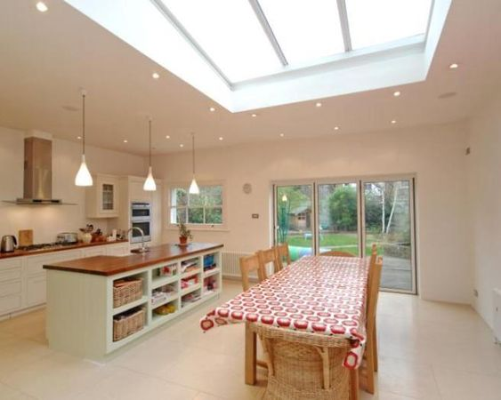 Room kitchen flat roof skylights and kitchen dining rooms for Beige dining room ideas