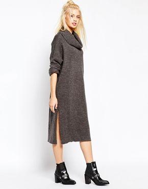 Monki Turtleneck Knitted Midi Dress