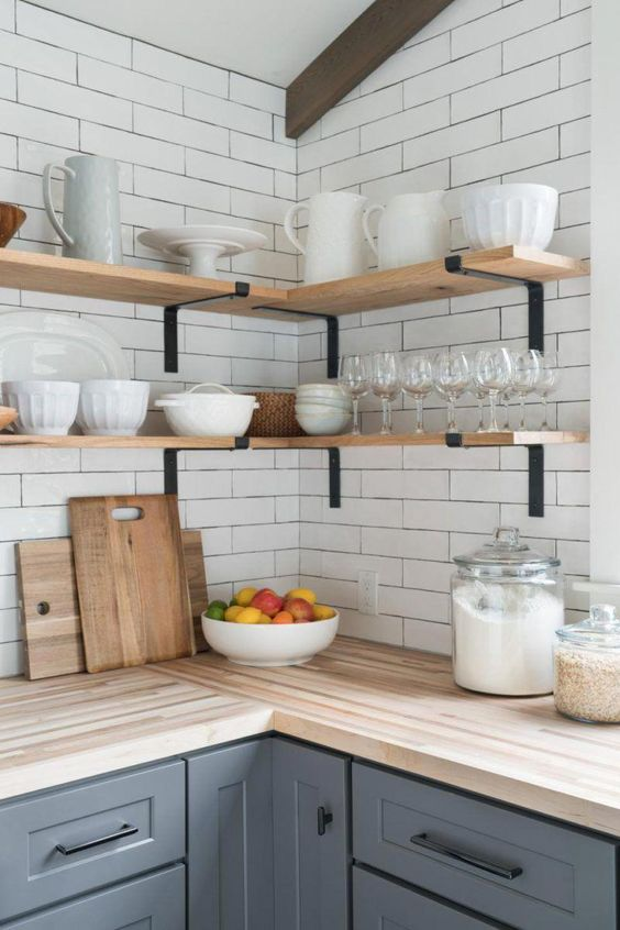 Butternut open wood shelves, on subway tile wall in kitchen | Whole Home Neutral Paint Palette With Color! #kitcheninspo