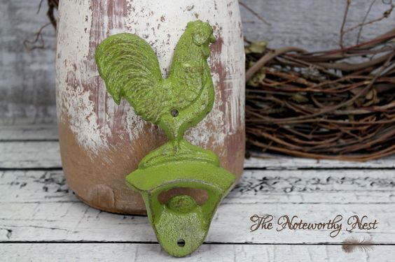 A personal favorite from my Etsy shop https://www.etsy.com/listing/277741008/rooster-cast-iron-bottle-opener-rooster