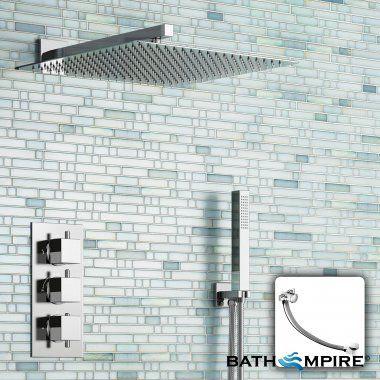 400 mm Square Head & Overflow Filler   Thermostatic Mixer Shower Set - BathEmpire