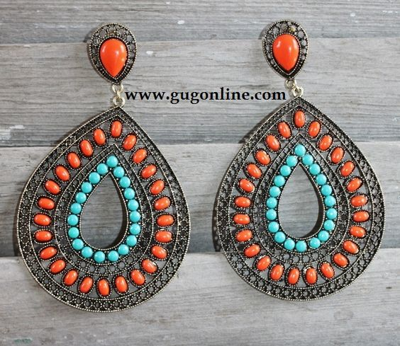 Giddy Up Glamour  $12.95  Orange and Turquoise Teardrop Earrings